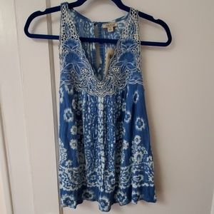 Lucky Brand blue embroidered boho tank top S